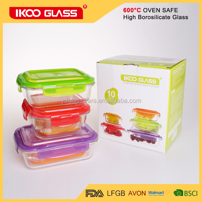 High borosilicate round glass vacuum food container with best lock lid