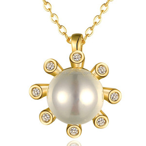 China Import Yellow Gold Plated Round Pearl Sun Cubic Zirconia Pendant Necklace Jewelry