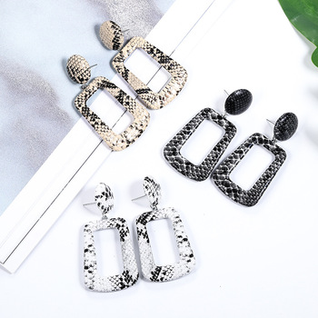 New Oversize Geometric Drop Earrings for Women Punk Vintage Big Statement Earrings Snake Skin Party Jewelry