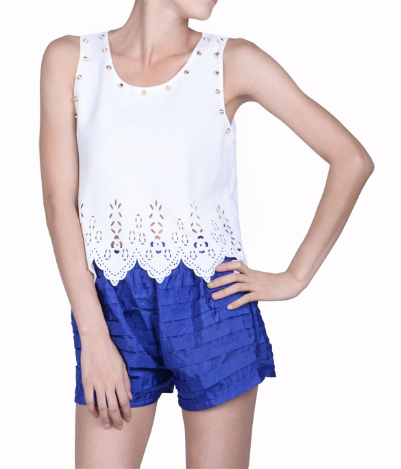 4cb355c3c Get Quotations · summer style 2015 the Korean version of the new flower  pierced vest wavy short t shirt