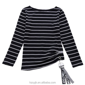 long sleeve tshirts mature ladies dresses Markings Blouses striped females metal ribbon