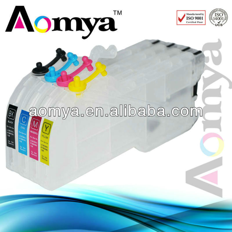 Aomya OEM Large Capacity LC11/LC16/LC38/LC61/LC67/LC980/LC1100 refillable inkjet cartridge for Brother printer ink bottles