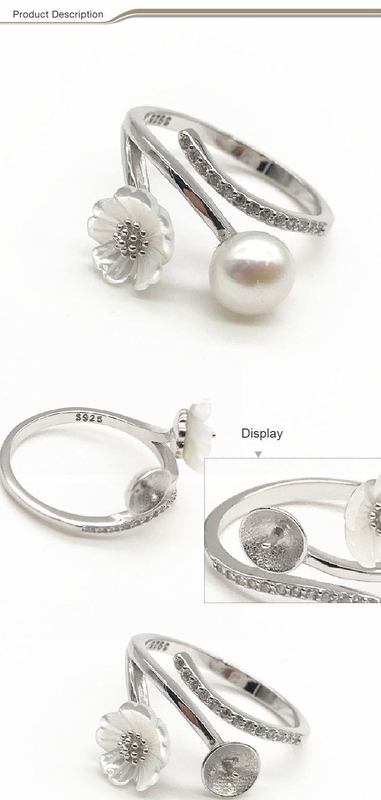 New design double beads glazed 925 sterling silver finger ring with pearl
