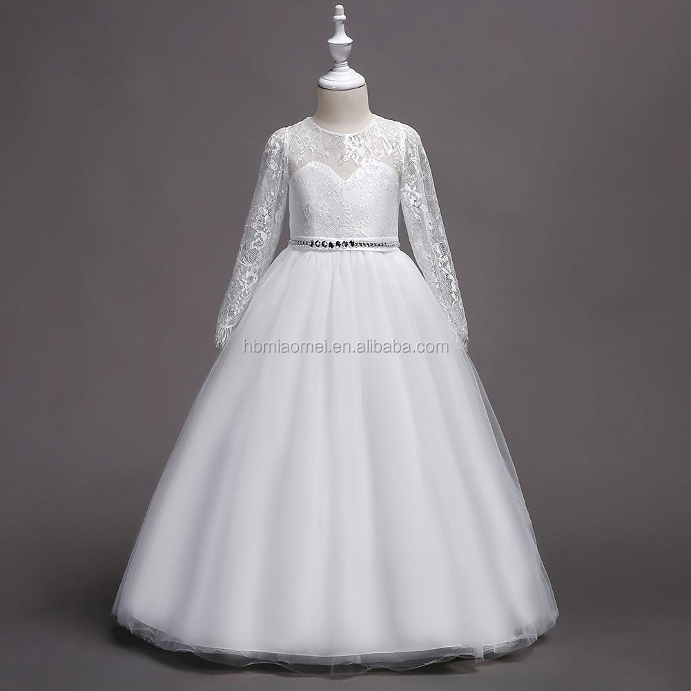 Echt Probe Weiße Blume Mädchen Kleider Für Hochzeit 15 Mit Langarm Kinder  Kommunion Kleider - Buy Weiße Blume Mädchen Kleid,Blumen Mädchen Kleid Für