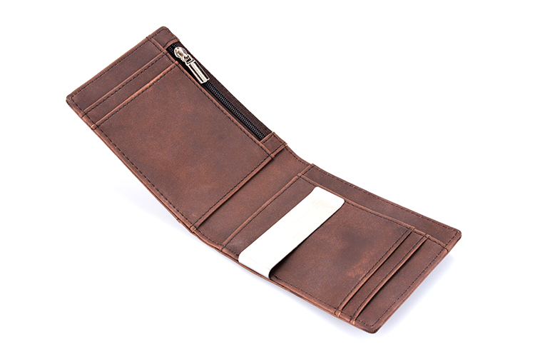 Factory price high quality men slim leather rfid money clip wallet with coin pocket