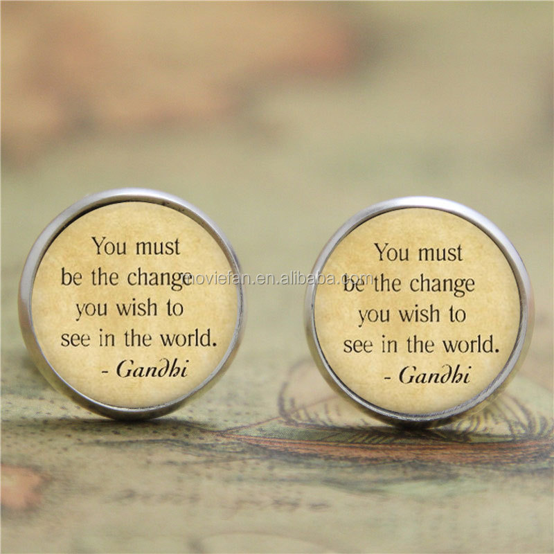 Mahatma earring The Change You Wish To See In The World earring Gandhi print glass earring