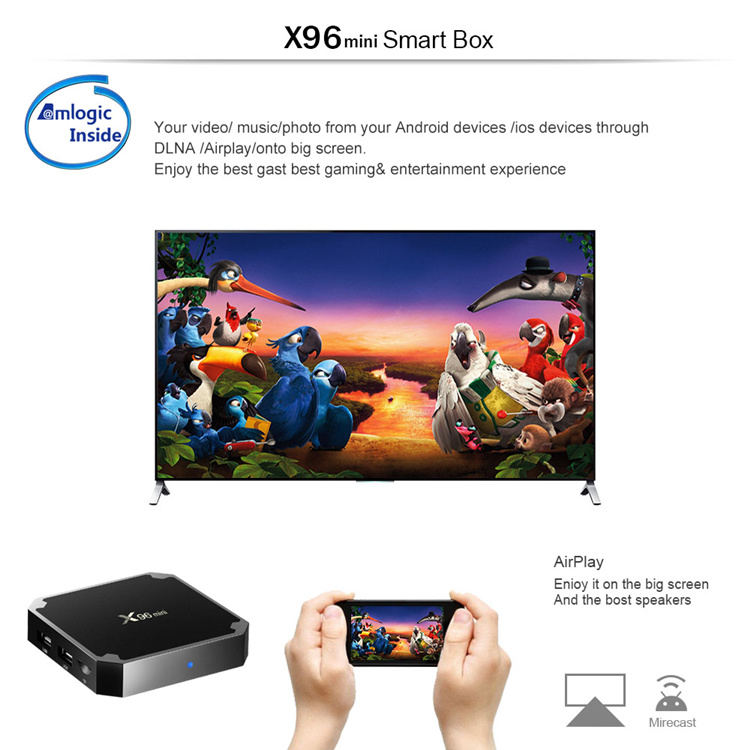 Cheapest price X96 MINI Android 7.1.2 TV Box 1GB 2GB RAM 8GB 16GB ROM Amlogic S905W Smart TV BOX Android 7.0 X96