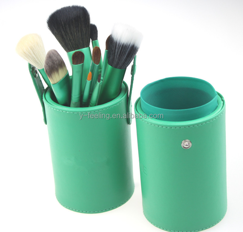 PU Leather Makeup Brush Holder Stand Makeup Brush Box PU Cylinder