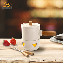 FDA Goedkeuring Bamboe Handvat 2 Vorken Fondue Set Houseware, Nieuwe Bone China Mini Fondue Set