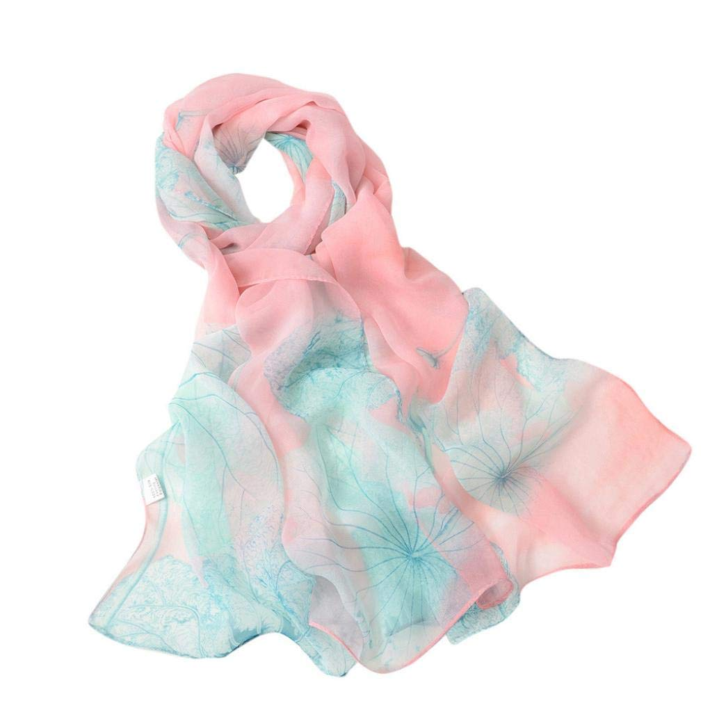 Lotus Flower Scarf For Women, Shybuy Georgette Lightweight Soft Gradient Shawls Wraps For Head Scarves