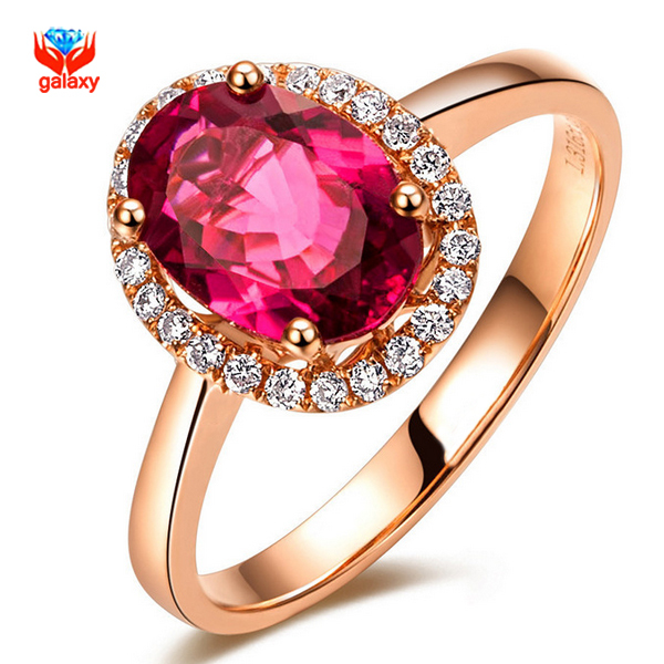 GALAXY Brand Fashion Red Ruby Wedding Rings For Women Real 18K Rose Gold Plated Genuine SWA Element Crystal Girls Rings YH077