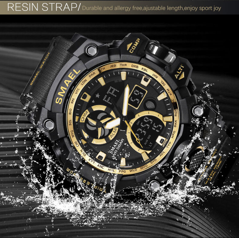 Army Watches Digital Backlight Relogio Masculino Alarm Watch Men Military LED Wristwatches SMAEL 1545C Military Watch Waterproof