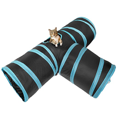 Amazon hot selling 3 Way Cat Tunnel, Creaker Collapsible Pet Toy Tunnel with Ball for Cat, Puppy, Kitty, Kitten,