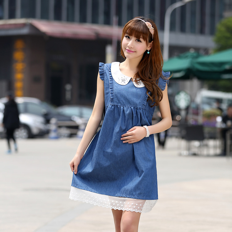 2016 New Denim Dress for Pregnant Woman Summer Solid Blue with Lace Pregnant Women s Dresses