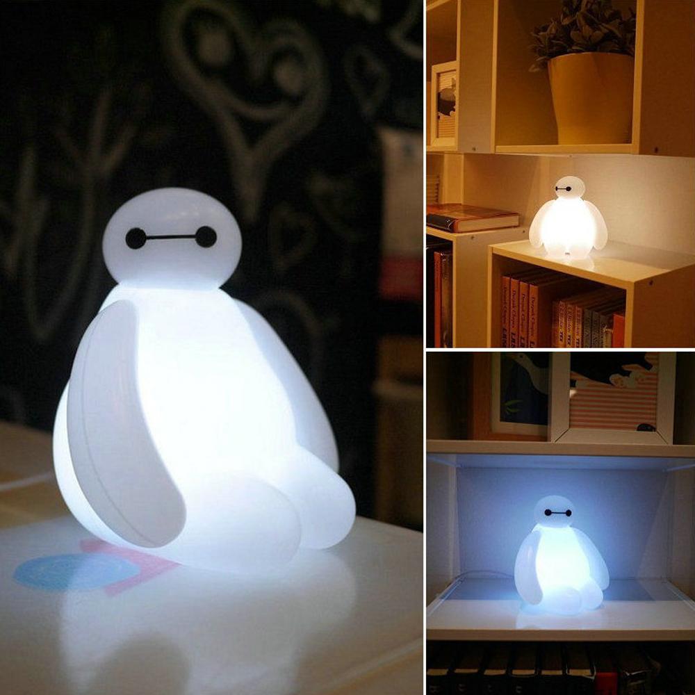 Big Hero  Cartoon Baymax Led Night Light White Cute Table Lamp Bedroom Decoration Amazing Kids