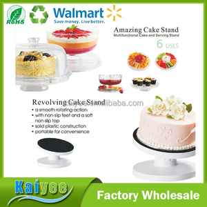 multi-functional conveniently portable solid plastic construction smooth rotating cake stand set