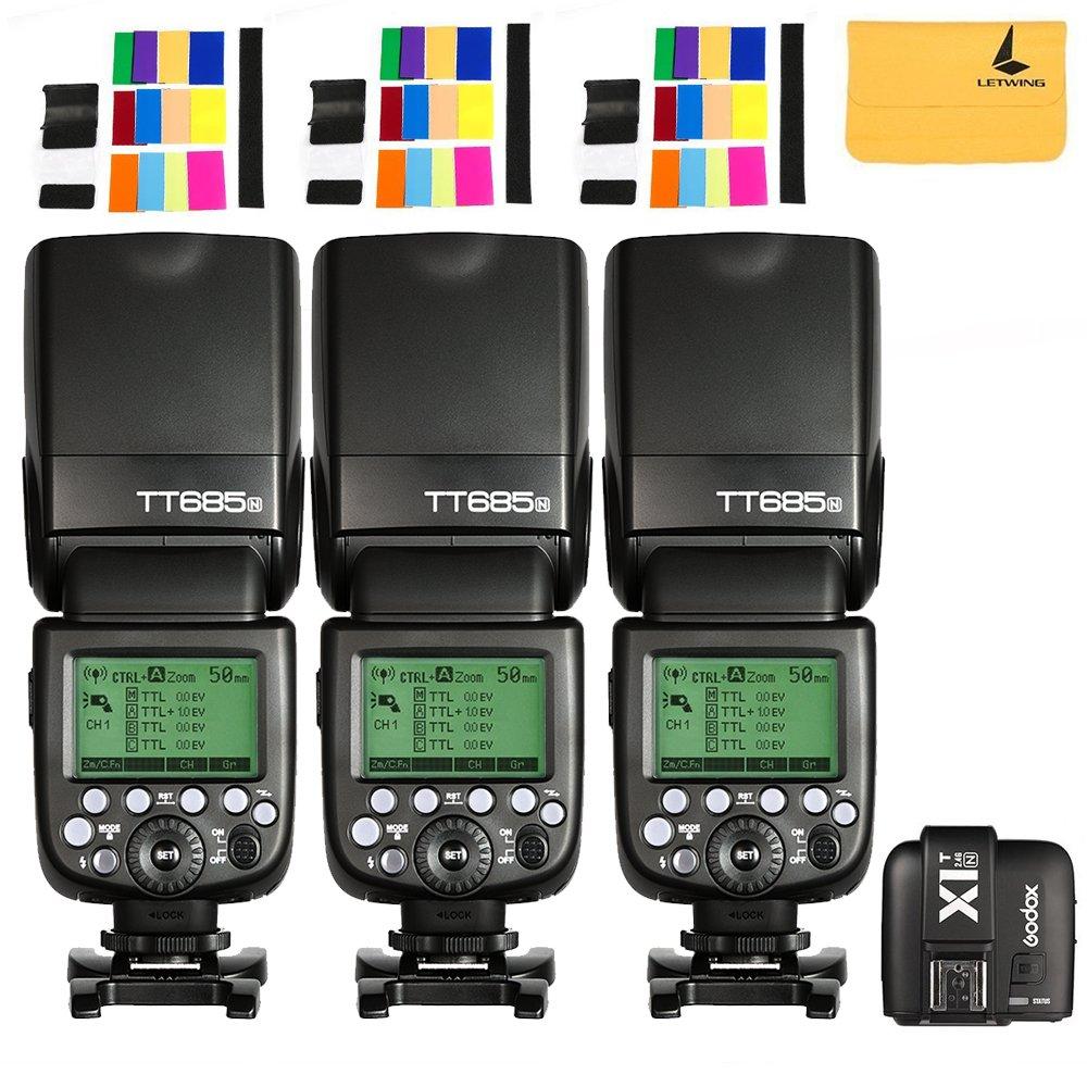 Godox TT685N Thinklite TTL 3X Camera Flash High Speed 1/8000s GN60 for Nikon Cameras I-TTL II Autoflash +Godox X1N First TTL 2.4 G Wireless Flash Trigger Transmitter For Nikon Series Cameras (X1N-T)