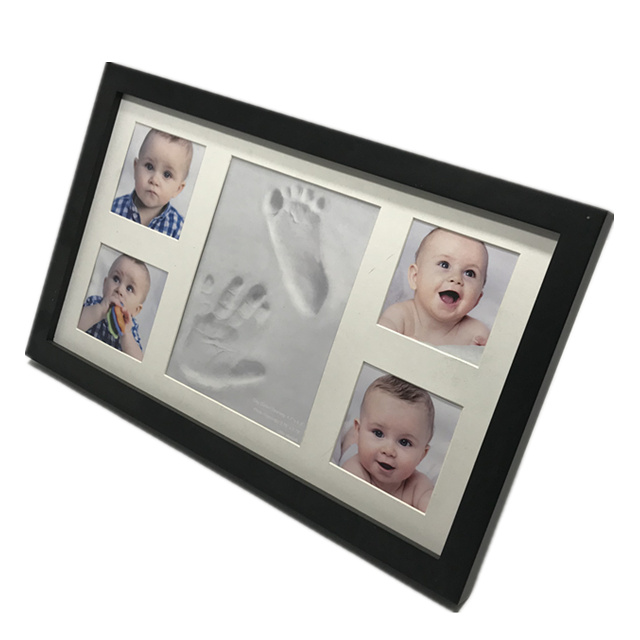 Baby Handprint Footprint Photo Frame Kit by HX for Newborn Girls & Boys (Free Date & Name Stamp) Choice of Mats to fit Room W