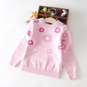 wholesale kids clothes Girl Sweater For Children knitting patterns embroidery flower Kids sweater Children clothes