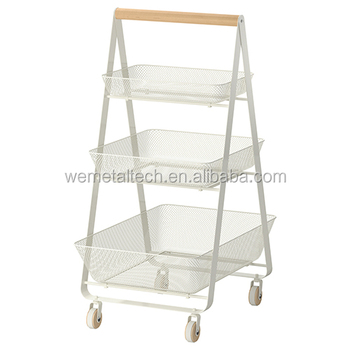 Wire Utility Kitchen Cart With 3 Shelves