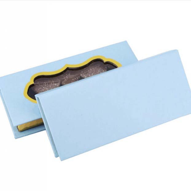 Shiny paper empty eyelash packaging box with window
