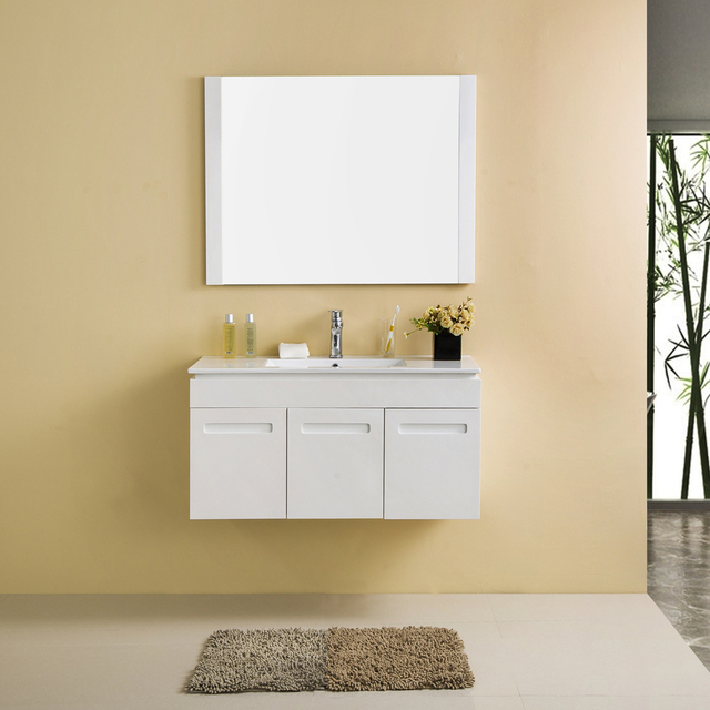 Wall Mount 3 Doors Sliding Door Bathroom Vanity Cheap Mirror Cabinet With  Mirror Sink Basin