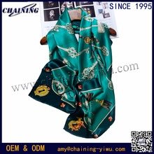 2017 Chinese supplier wholesale japanese chain deisgn digital print custom 108 big square korea 100% satin silk woven scarfs