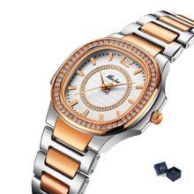 MISSFOX розовое золото часы Для женщин кварцевые часы дамы лучший бренд класса люкс Нержавеющаясталь женские наручные часы для девочек золот...(Китай)