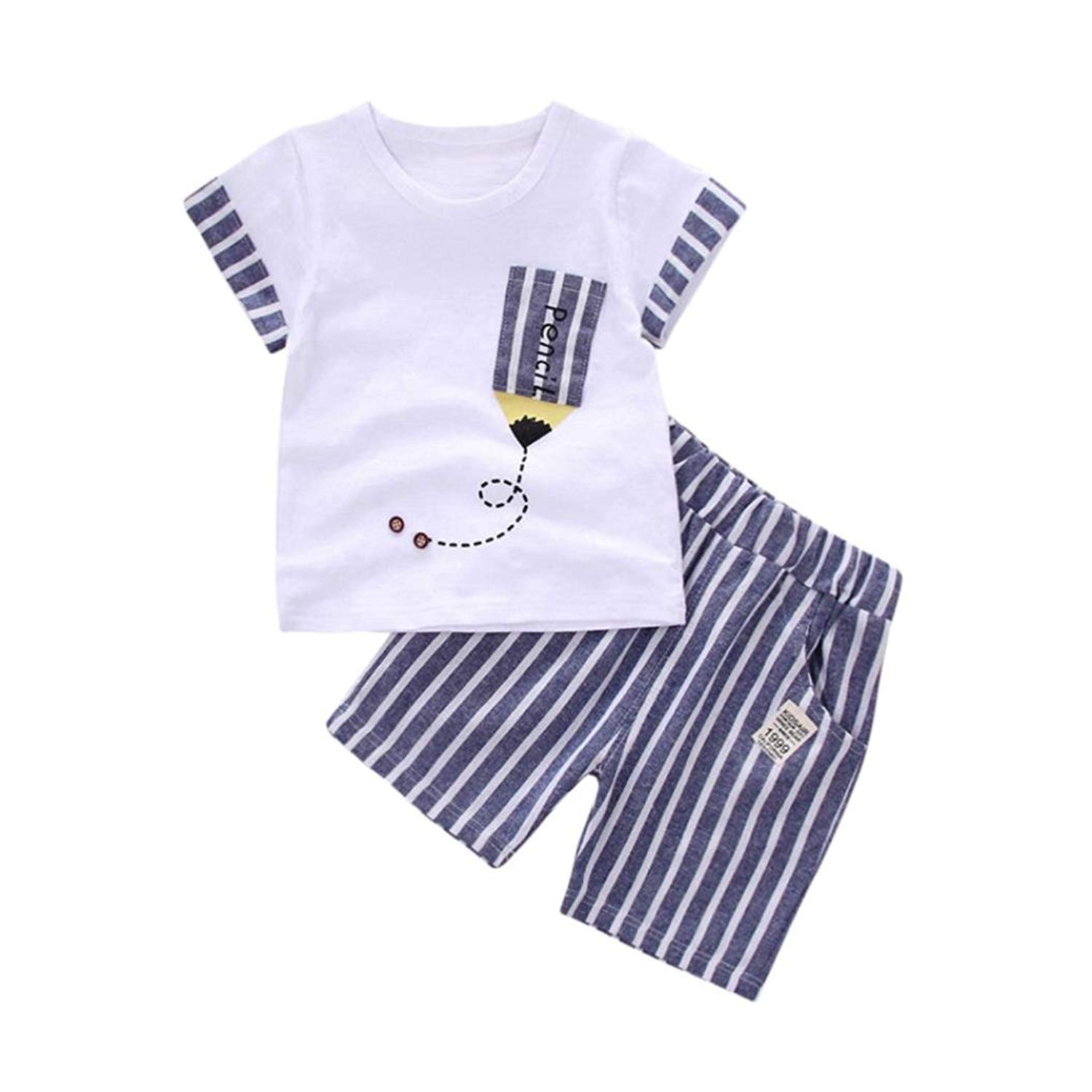 Apparel Goodtrade8 Toddler Baby Boy Pocket T-Shirt Tops Pants Infant Short Sleeve Outfit Clothes Set Green