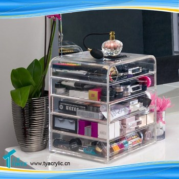 Crystal Countertop Multilevel Cosmetic Organizer Drawers - Cosmetic organizer countertop
