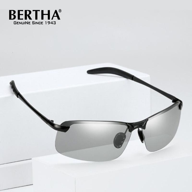 4d70da657 Bertha Homens Moda Photochromic Óculos Polarizados Óculos De Sol Masculino  Óculos de Condução Para Dias Óculos