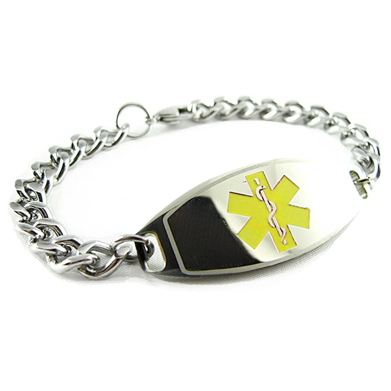 Get Quotations My Ideny Doctor Pre Engraved Customized Peanut Allergy Alert Medical Bracelet Yellow
