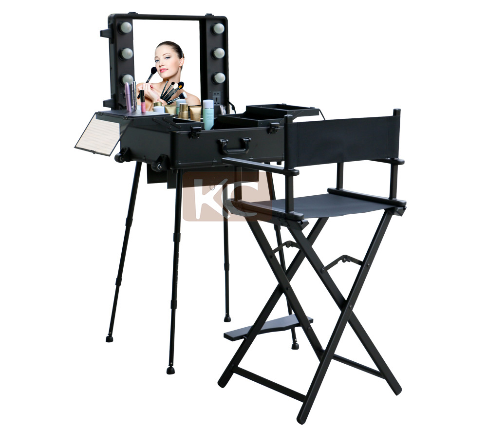 Professional Lighting cosmetic rolling case with stand and led mirror