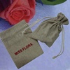 printed small jute cocoa sack bag with drawstring