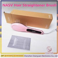 Magical Electric Brush Hair Straightener With LCD Fast Heat Up Professional Hair Straightening Brush Best Choice As A Gift