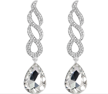 Fashion Austria Crystal Silver Clear Waterdrop Rhinestone Earrings