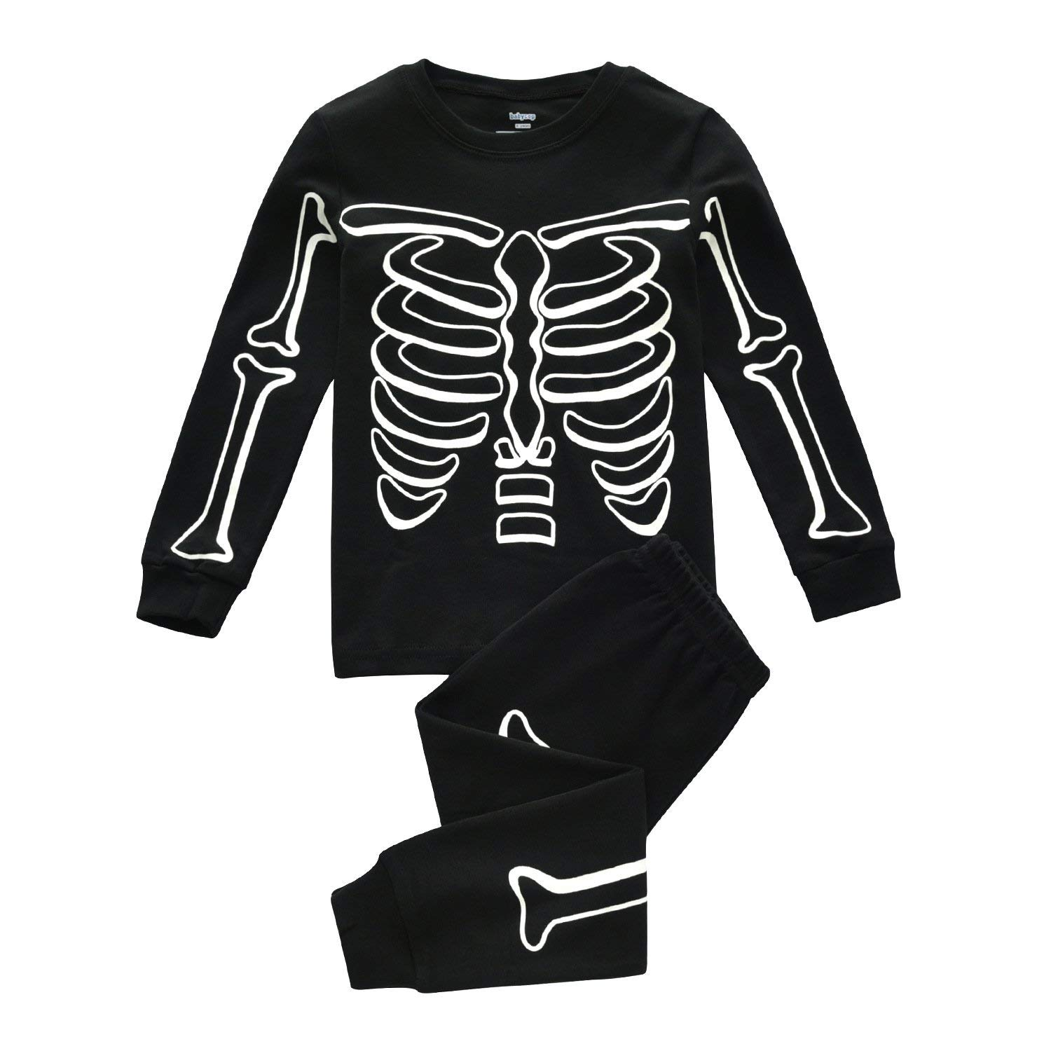 DDSOL Kids Pajamas for Boys Skeleton Glow-in-The-Dark Cotton Sleepwear Toddler Clothes Halloween Outfit Size 2-7T