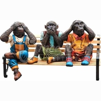 Yard art bench sculpture bronze monkey statues for sale