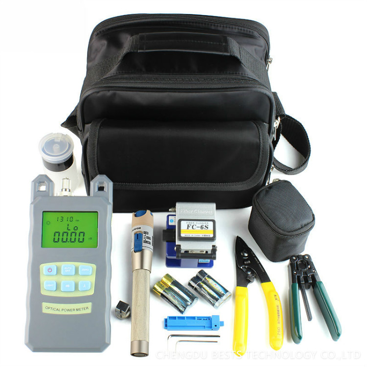 9 In 1 Fiber Optic FTTH Tool Kit with Fiber Cleaver and Optical Power Meter 5km Visual Fault Locator Wire stripper