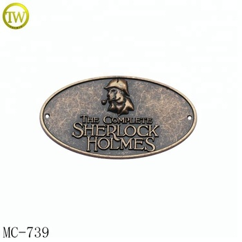 MC739 High quality custom logo decoration oval vintage furniture metal plates label