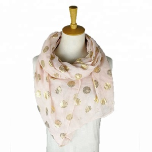 2018 new arrival fashion gold foil scarf gift voile shawl for women