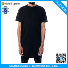 Mens Black Longline Short Sleeve T shirt Lengthen 10cm 100% Cotton Plain Extra Long T Shirts Deep Cut