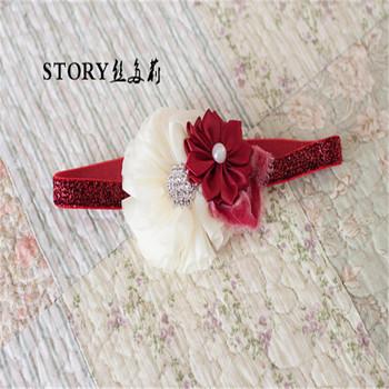 2018 fancy European glitter Christmas baby crystal pearl flower photo prop  baptism velvet headband 6d46e4aa700