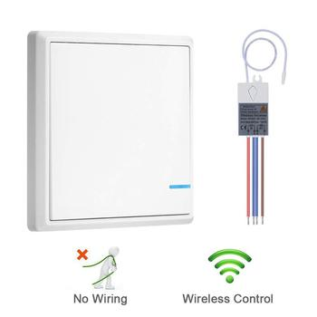 Wireless Light Switch Push On Lighting Transmitter Receiver Kit