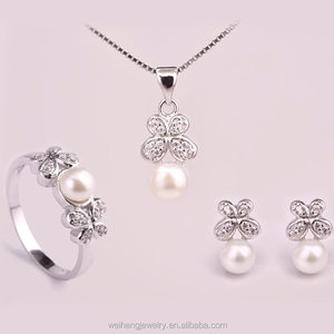 2017 Hot sale butterfly shape freshwater pearl bridal siver sets wish pearl gift set pearl set designs