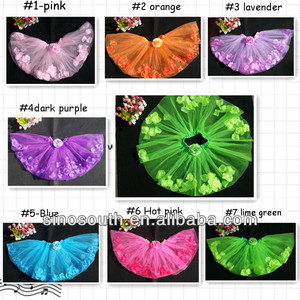 2014 valentine day petal flower romantic wholesale tutu skirt for girls