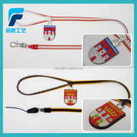 promotional gifts mobile phone zipper lanyard with soft pvc puller,zipper lanyard/neck strap/name card strap