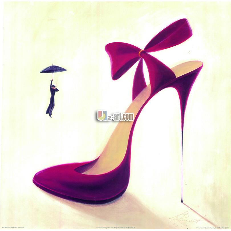 moderne femelle styles peinture belles chaussures impressions sur toile mur art pour lady cadeau. Black Bedroom Furniture Sets. Home Design Ideas