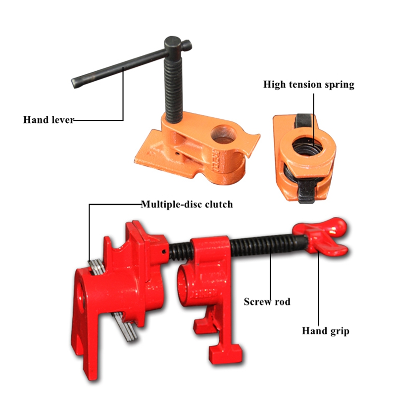 American-style light duty quick release 1/2inch 3/4 inch woodworking pipe clamp with or without legs sliding pipe clamp support
