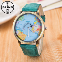 >>>2017 top sales fashion classic cowboy quartz watches creative world map wrist watches men women